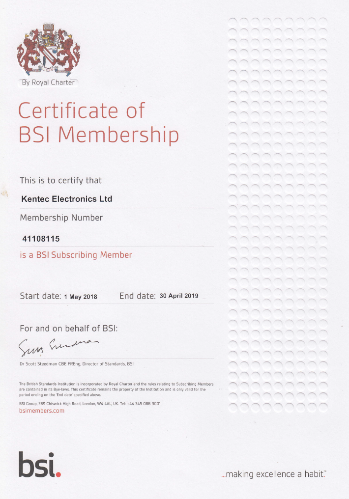 Certificate of BSI Membership