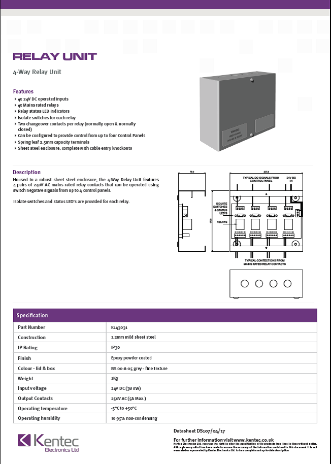 DS107 4-Way Relay Datasheet