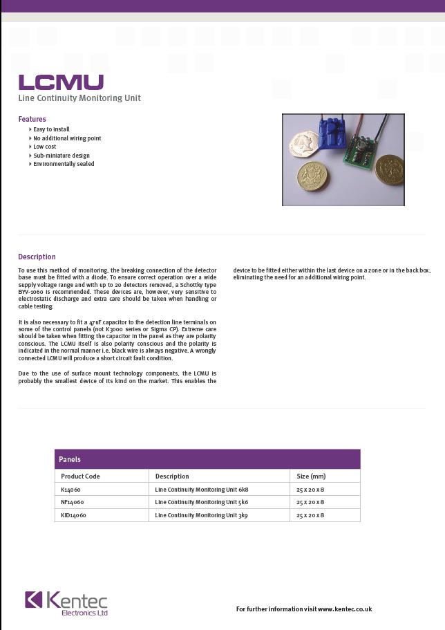 DS20 LCMU Datasheet