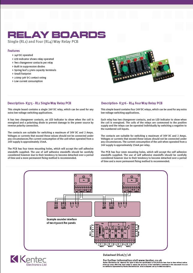 DS26 Relay Boards Datasheet