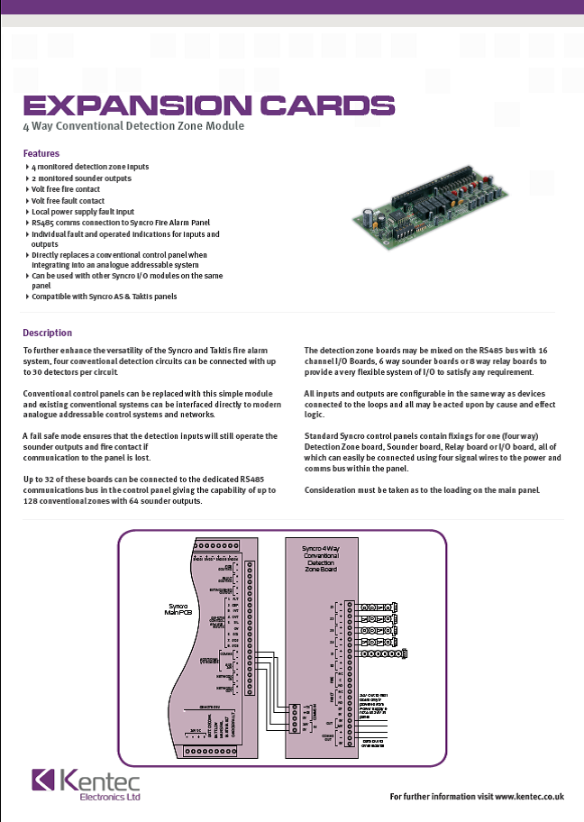 DS35 4-Way Conventional Detection Zone Module Datasheet