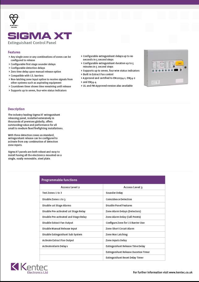 DS40 Sigma XT Datasheet