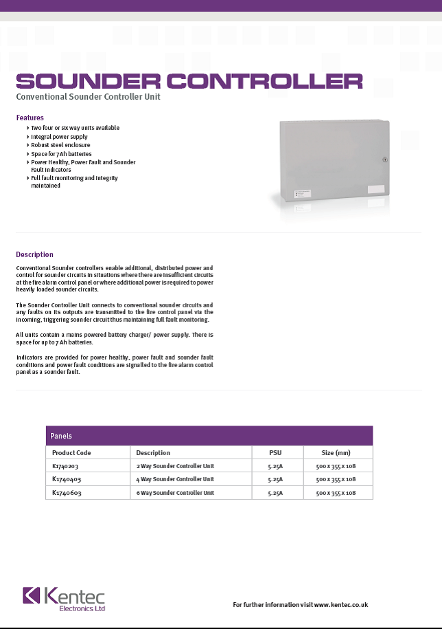 DS48a Conventional Sounder Controller Datasheet