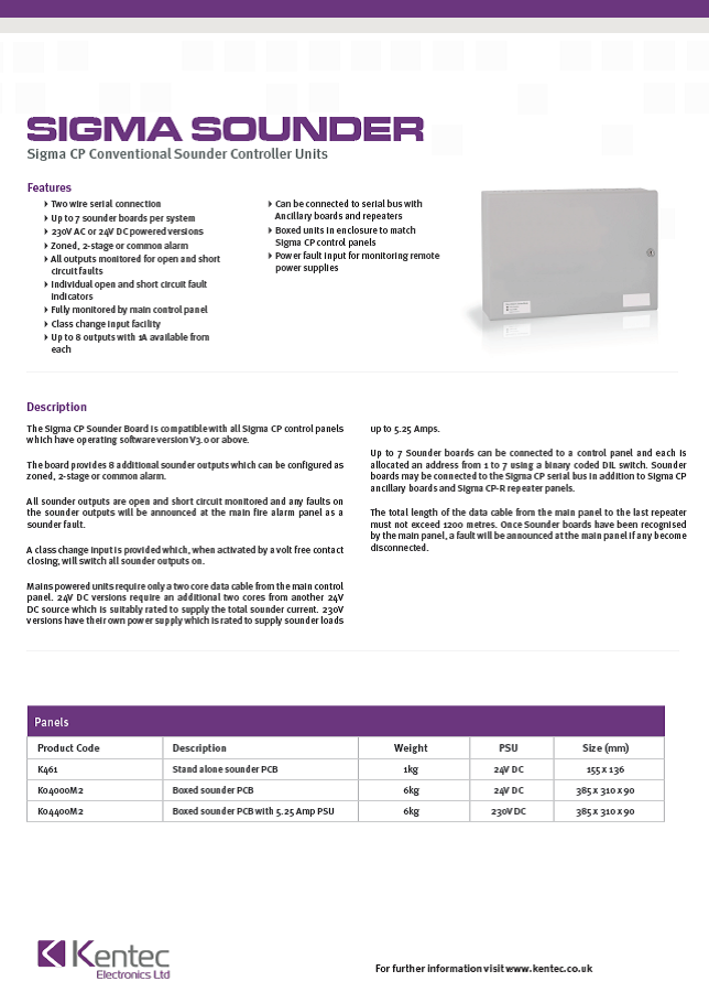 DS48b Sigma CP Sounder Controller Datasheet
