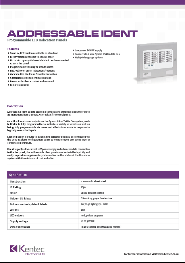 DS60 Addressable Ident Datasheet