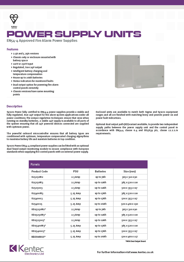 DS61 Power Supply Units datasheet