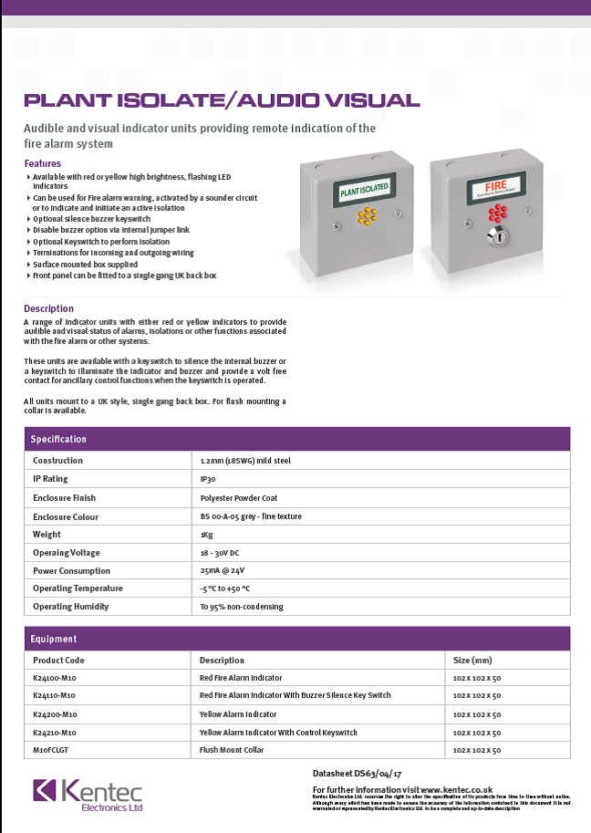 DS68 Audio Visual/Plant Isolate Datasheet