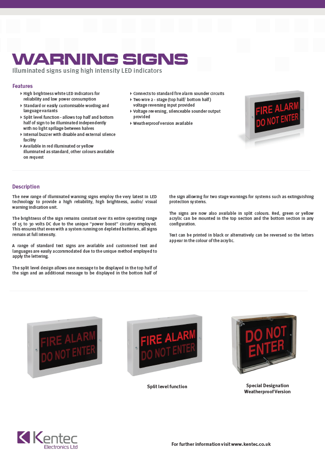 DS64 Warning Signs datasheet