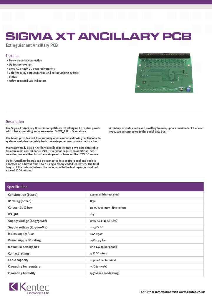 DS75 Sigma XT Ancillary PCB datasheet