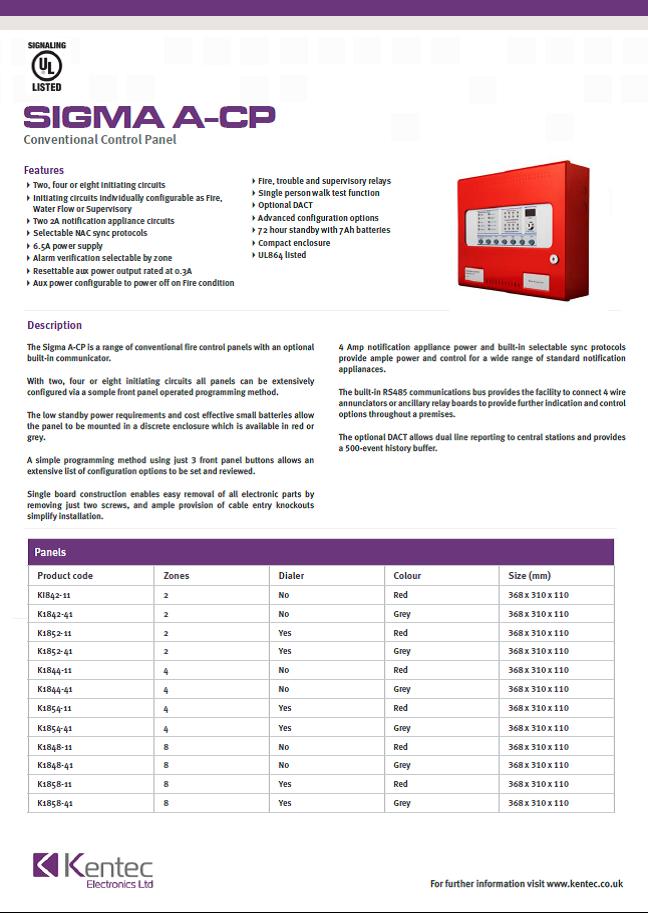 DS78 Sigma A-CP datasheet