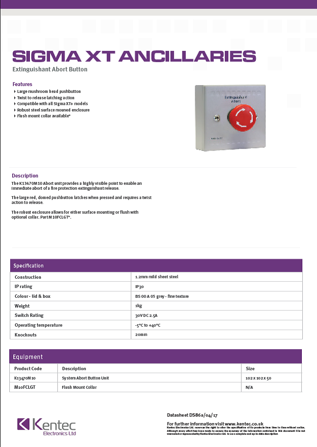 DS86a Abort Button Datasheet