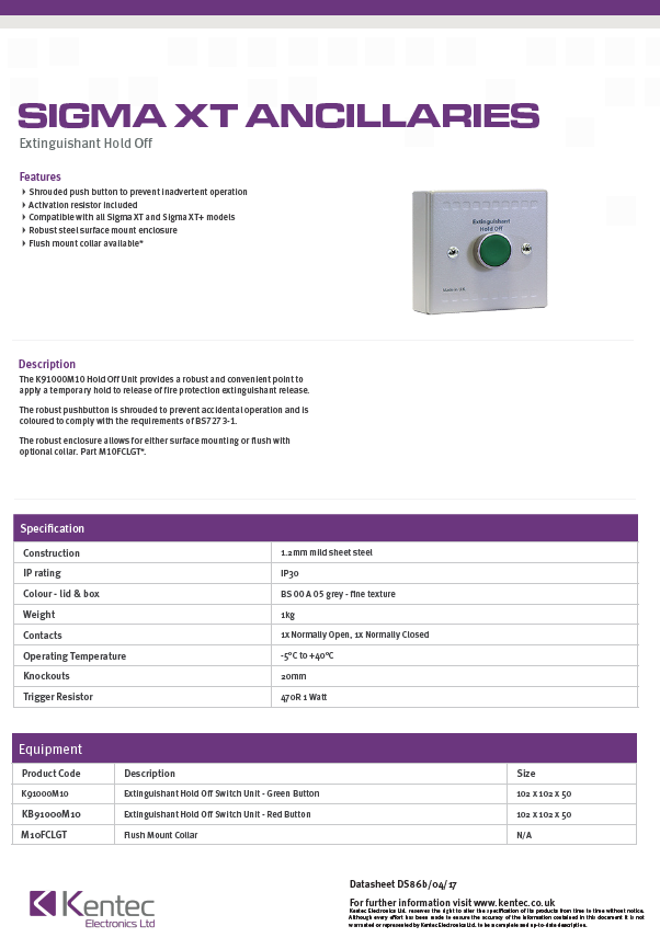 DS86b Extinguishant Hold Off Unit Datasheet
