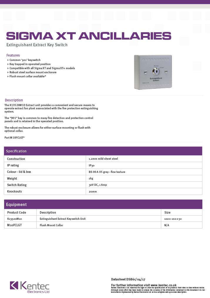 DS86c Extinguishant Extract Key Switch Datasheet
