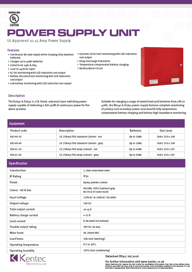 DS91 UL Approved 10.25A PSU Datasheet