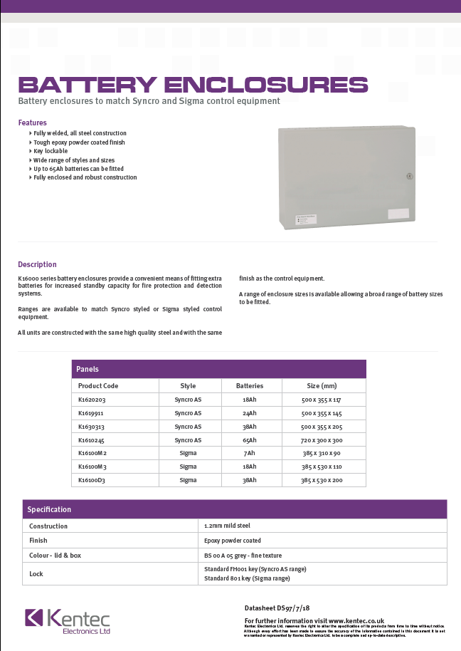 DS97 Battery Enclosure Datasheet