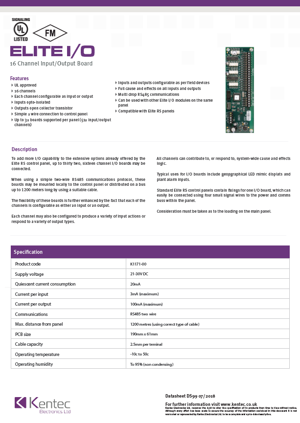 DS99 Elite I/O Board Datasheet