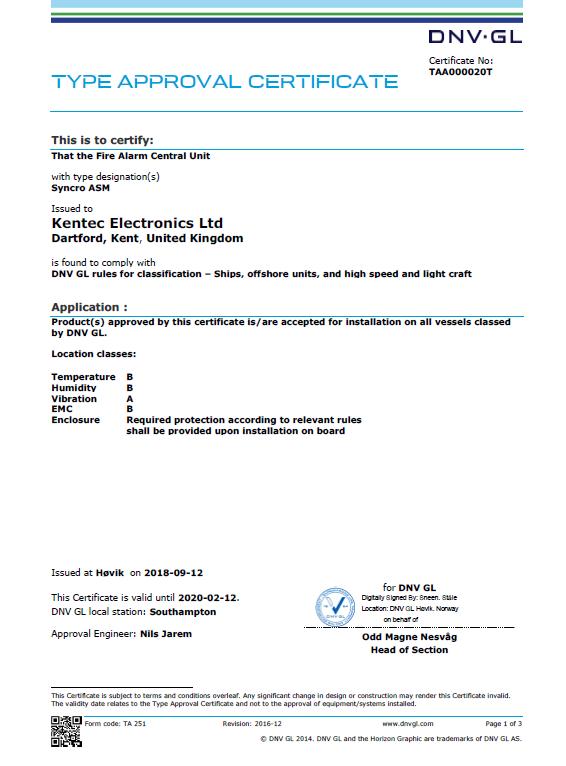 Det Norske Veritas Marine Approval Certificate for Syncro ASM