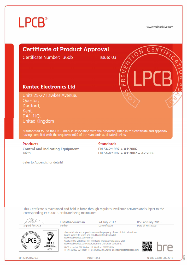LPCB Certificate of Product Approval – Taktis