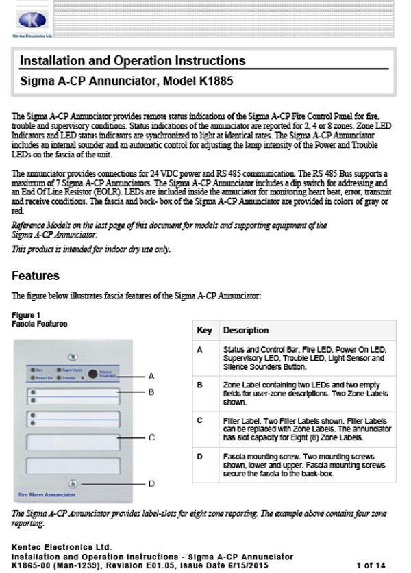 Man-1239 Sigma A-CP Annunciator