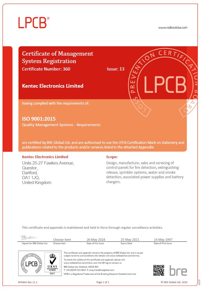LPCB ISO 9001:20015 Certificate