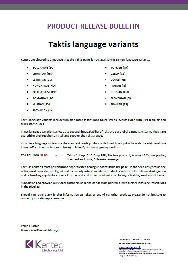 Product Bulletin Taktis Language Variants