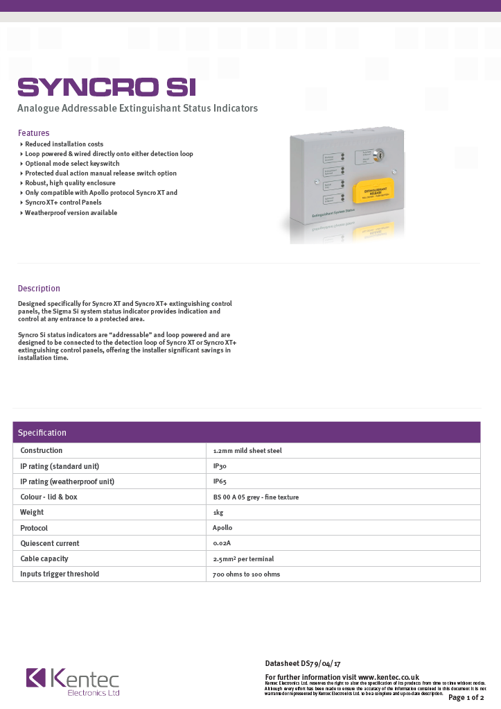 DS79 Syncro SI Datasheet