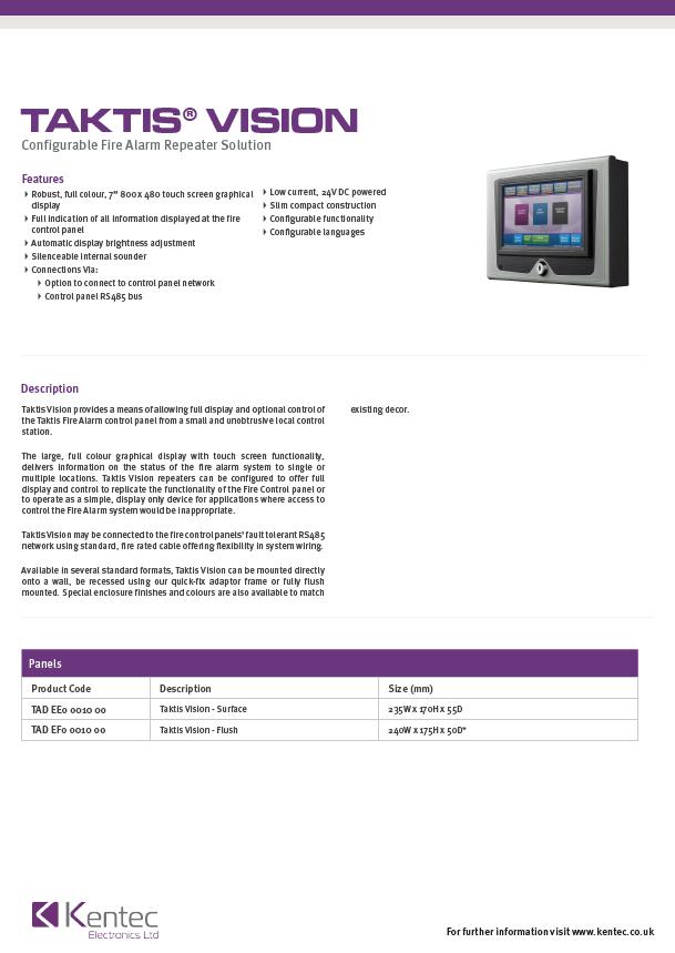 DS105 Taktis Vision Datasheet