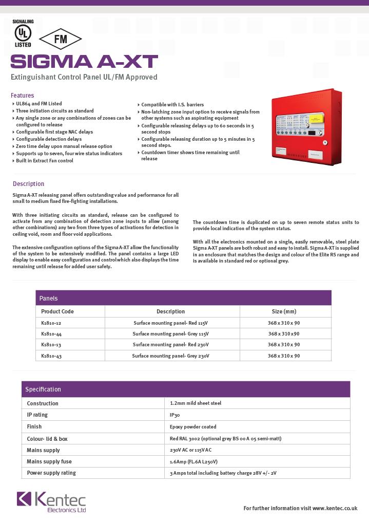 DS72 Sigma A-XT Datasheet