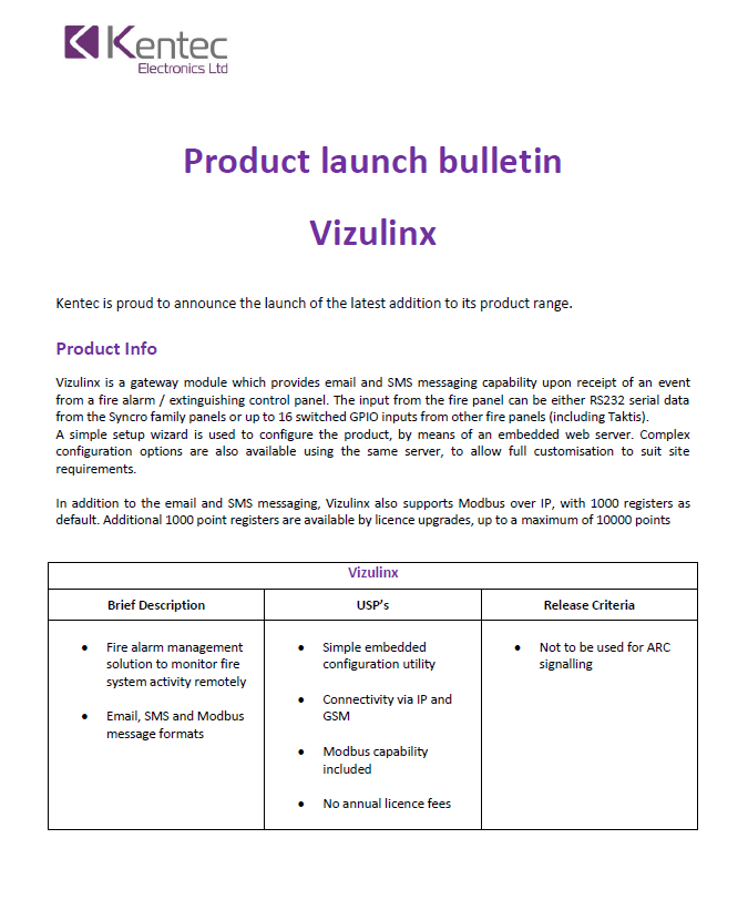 Product Bulletin Vizulinx