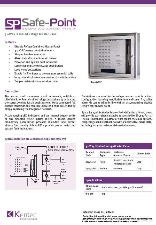 DS114 Safe-Point EVC 32-Way Control Panel Datasheet