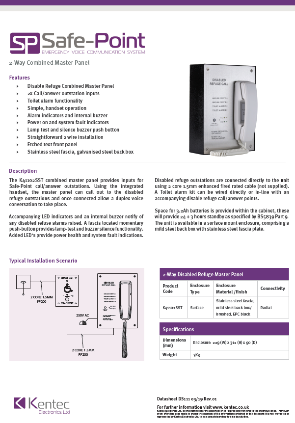 DS111 Safe-Point EVC 2-Way Combined Master Panel Datasheet