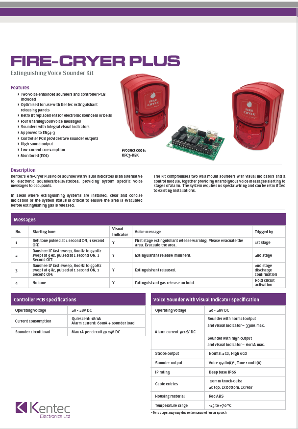DS115 Fire-Cryer Plus Voice Sounder Datasheet