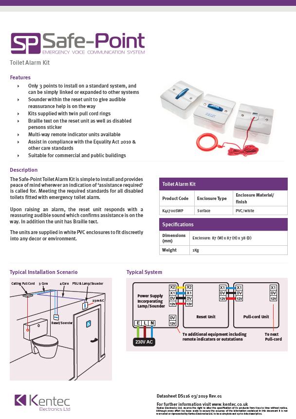 DS116 Safe-Point EVC Toilet Alarm Kit Datasheet