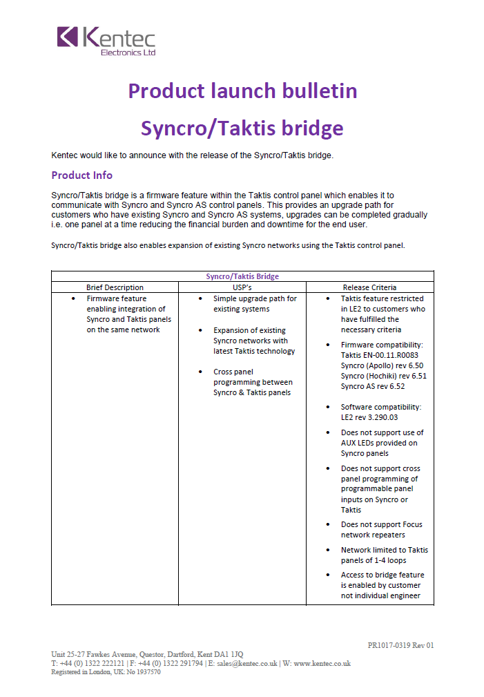 Product Bulletin Syncro-Taktis Bridge Functionality
