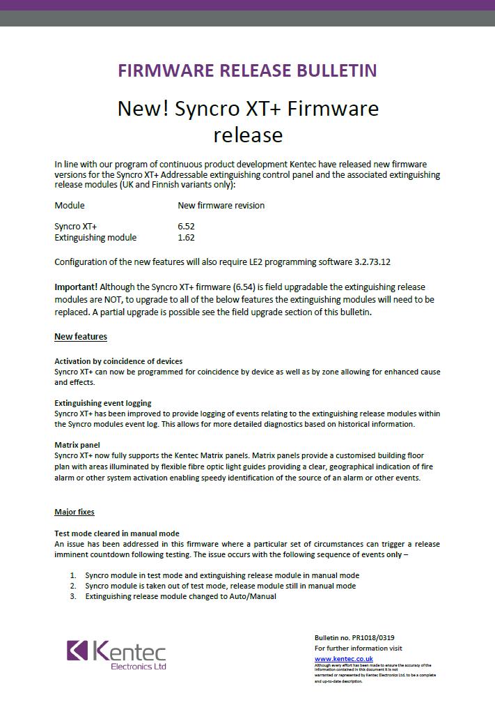 Syncro XT+ Firmwear Release