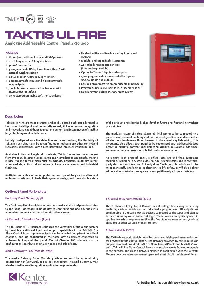 DS121 Taktis UL Fire Datasheet