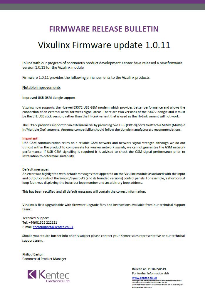 Product Bulletin Vizulinx Firmwear Update