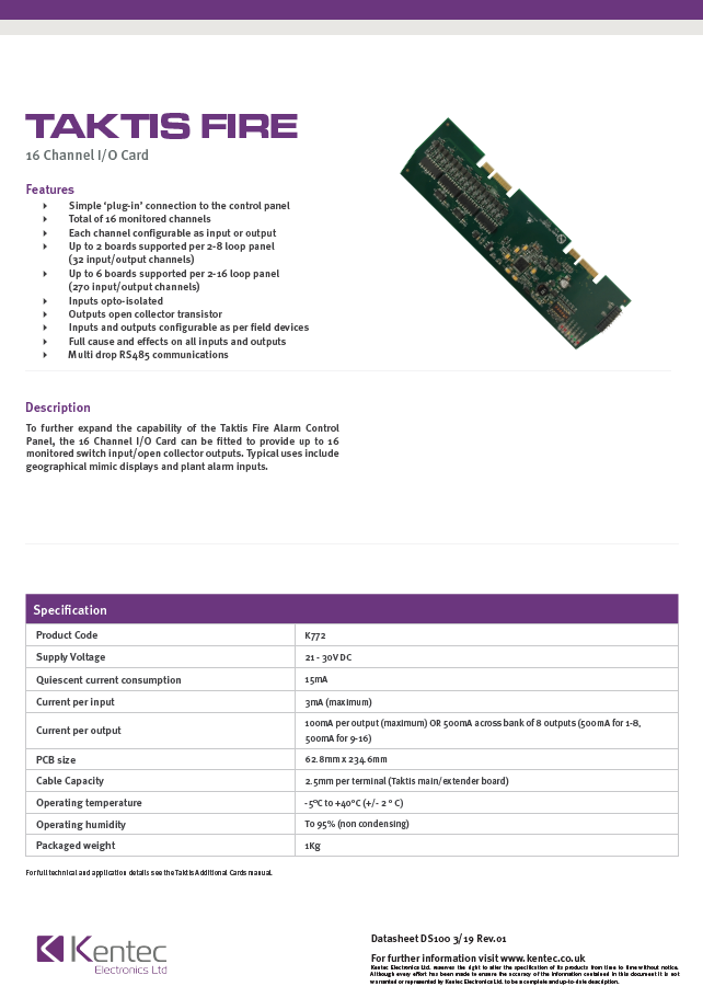 DS100 Taktis 16 Channel Input/Output Card Datasheet