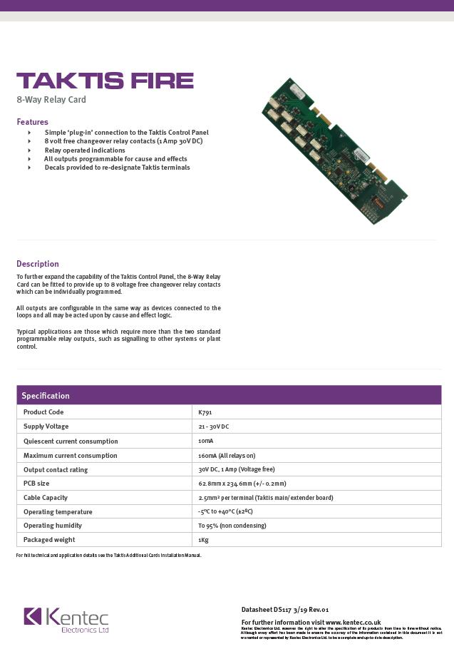 DS117 Taktis 8-Way Relay Card Datasheet