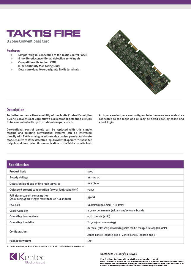 DS118 Taktis 8 Zone Conventional Card Datasheet