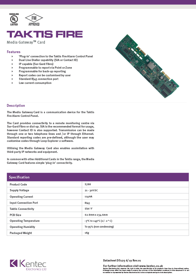 DS125 Media Gateway Card (UL) Datasheet