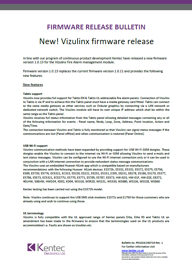 Product Bulletin Vizulinx new Firmware Release