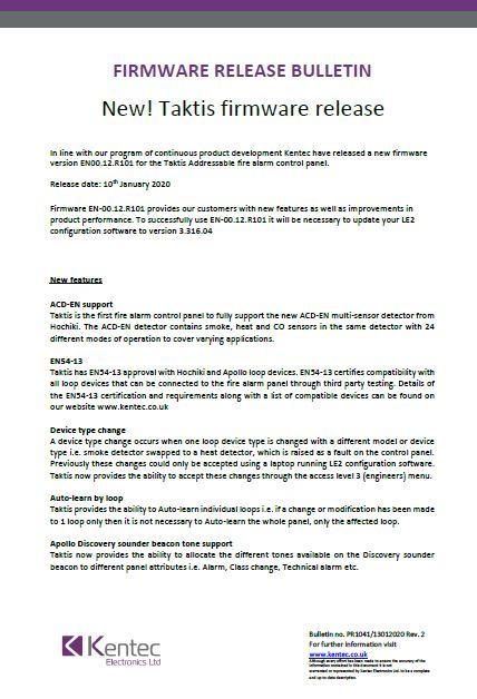New! Taktis firmware release