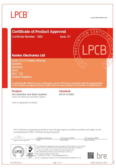 Certificate of Product Approval for Taktis Fire Detection and Alarm System