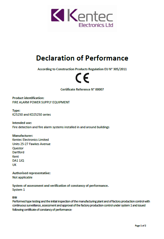 Declaration of Performance for Power Supplies