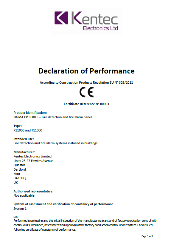 Declaration of Performance for Conventional Products – Sigma CP