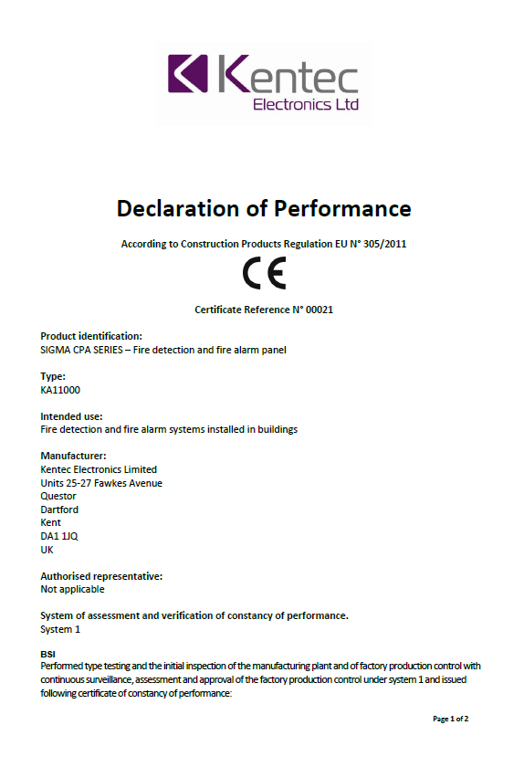 Declaration of Performance for Conventional Products – Sigma CPA