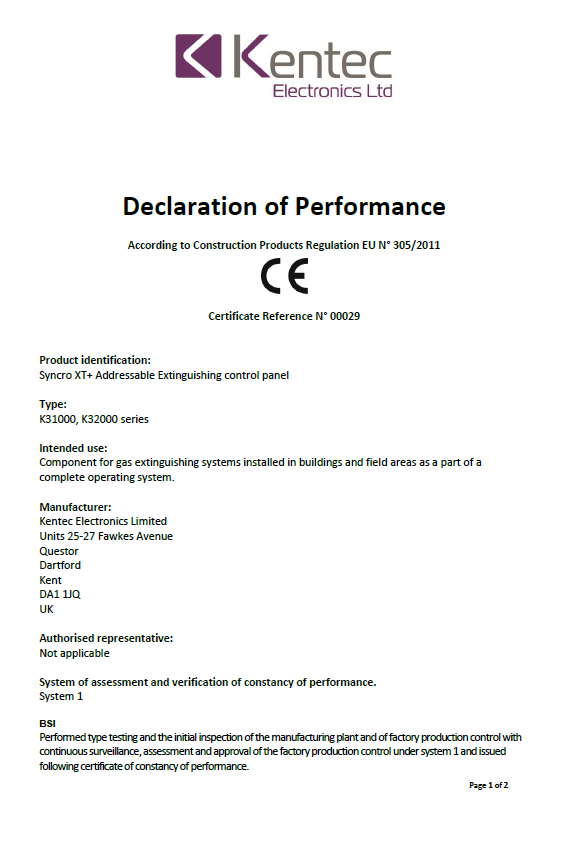 Declaration of Performance for Syncro XT+