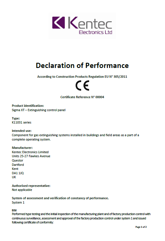 Declaration of Performance for Extinguishant Products