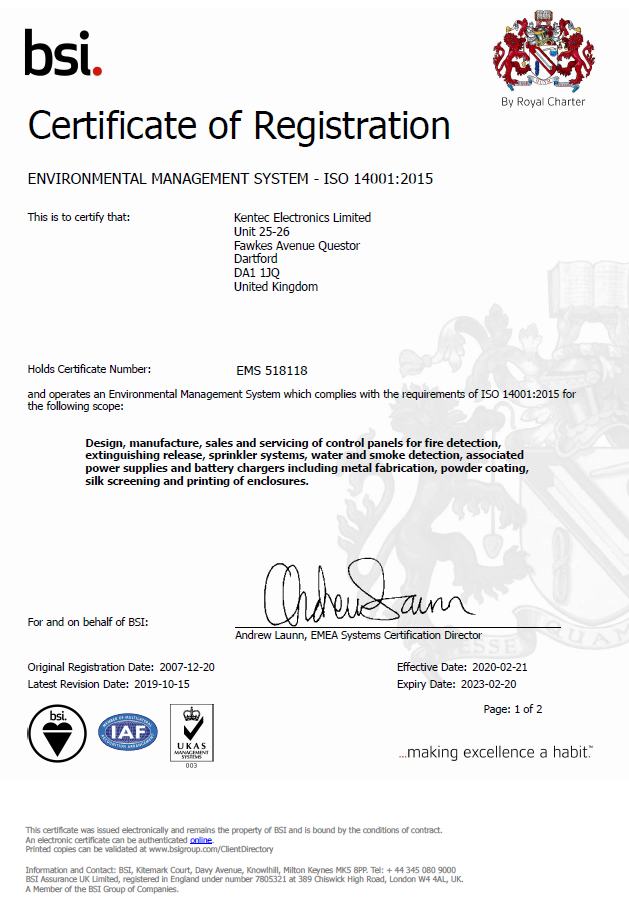 BSI ISO 14001:2015 Certificate Environmental Management System